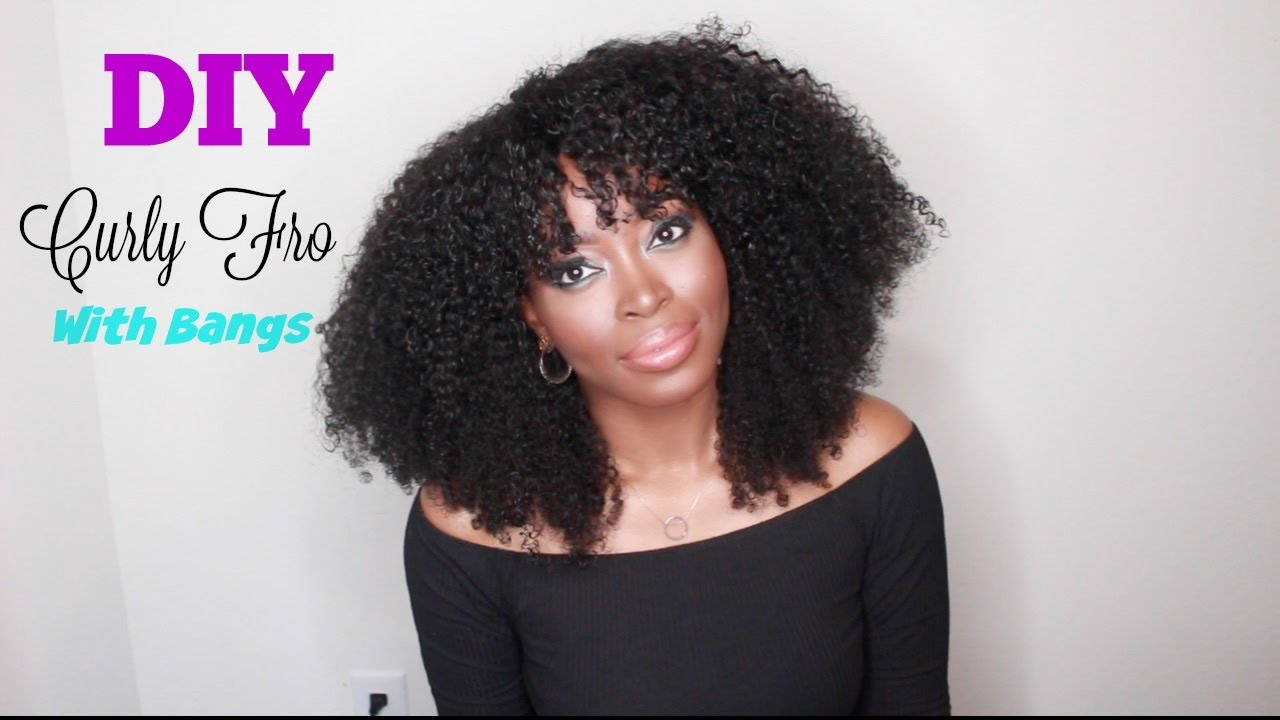 How to DIY: Kinky CURLY FRO WITH BANGS WIG TUTORIAL : PRIVATESTOCKHAIR   Cut and Shape Hair