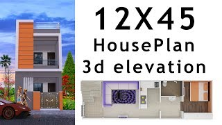 12X45 House plan with 3d elevation by nikshail