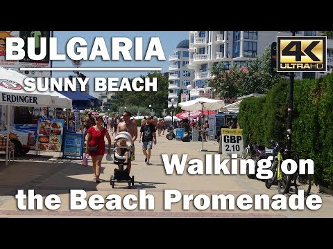 A Walk through the Promenade heading South, Sunny Beach Bulgaria [4K]