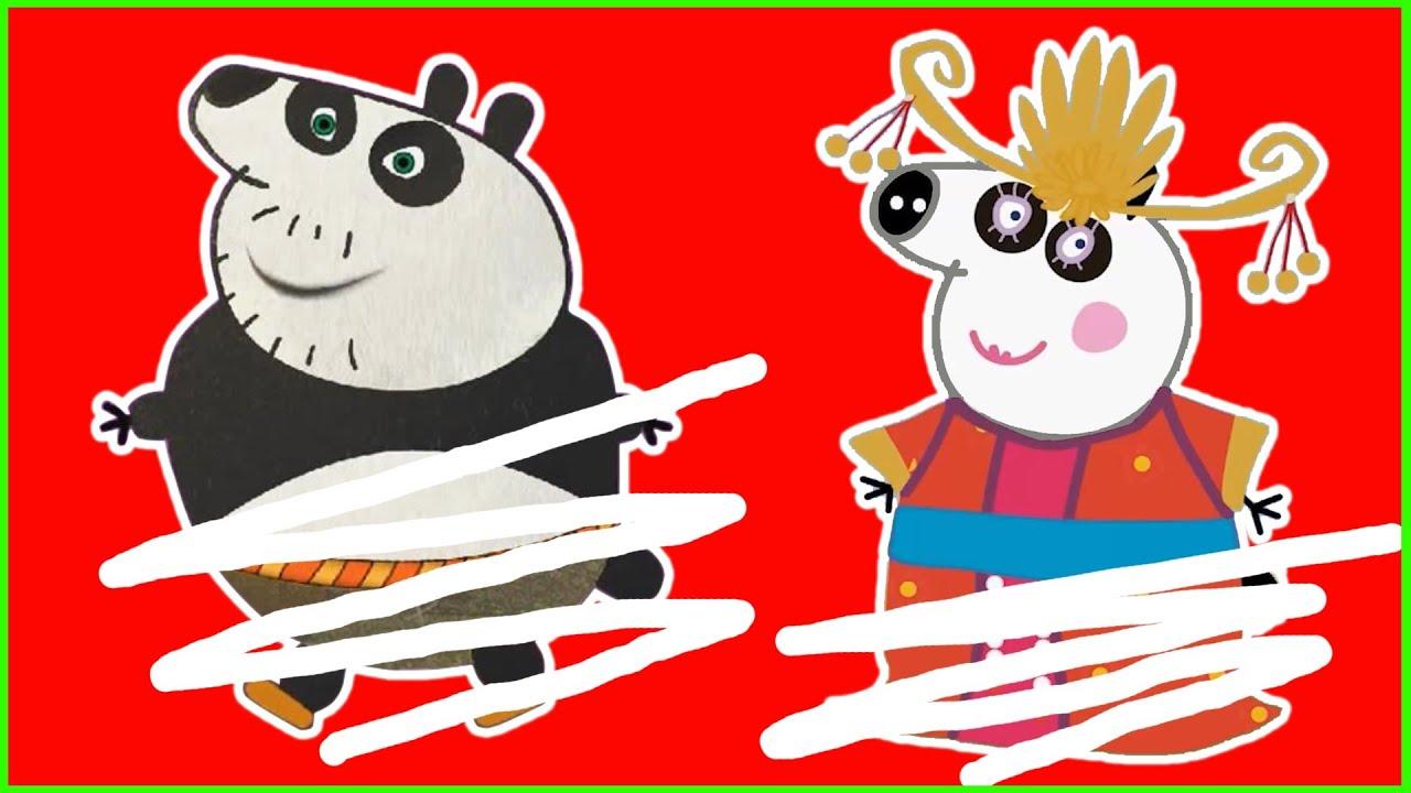 Drawing PEPPA PIG Kung Fu Panda 3, Fun Coloring For Kids