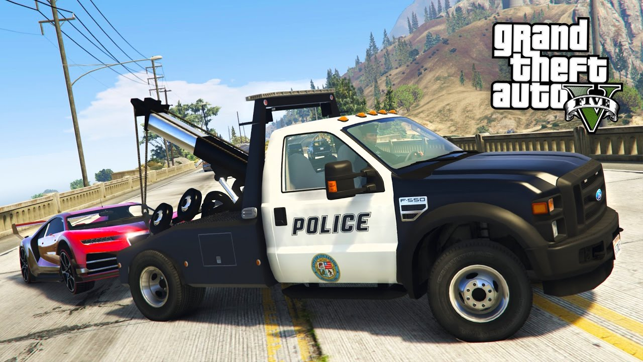 Tow Truck Gta 5 Mods Play As A Cop Mod Gta 5 Police Tow Truck Towing Super Cars Lspdfr Mod Gta 5 Mods