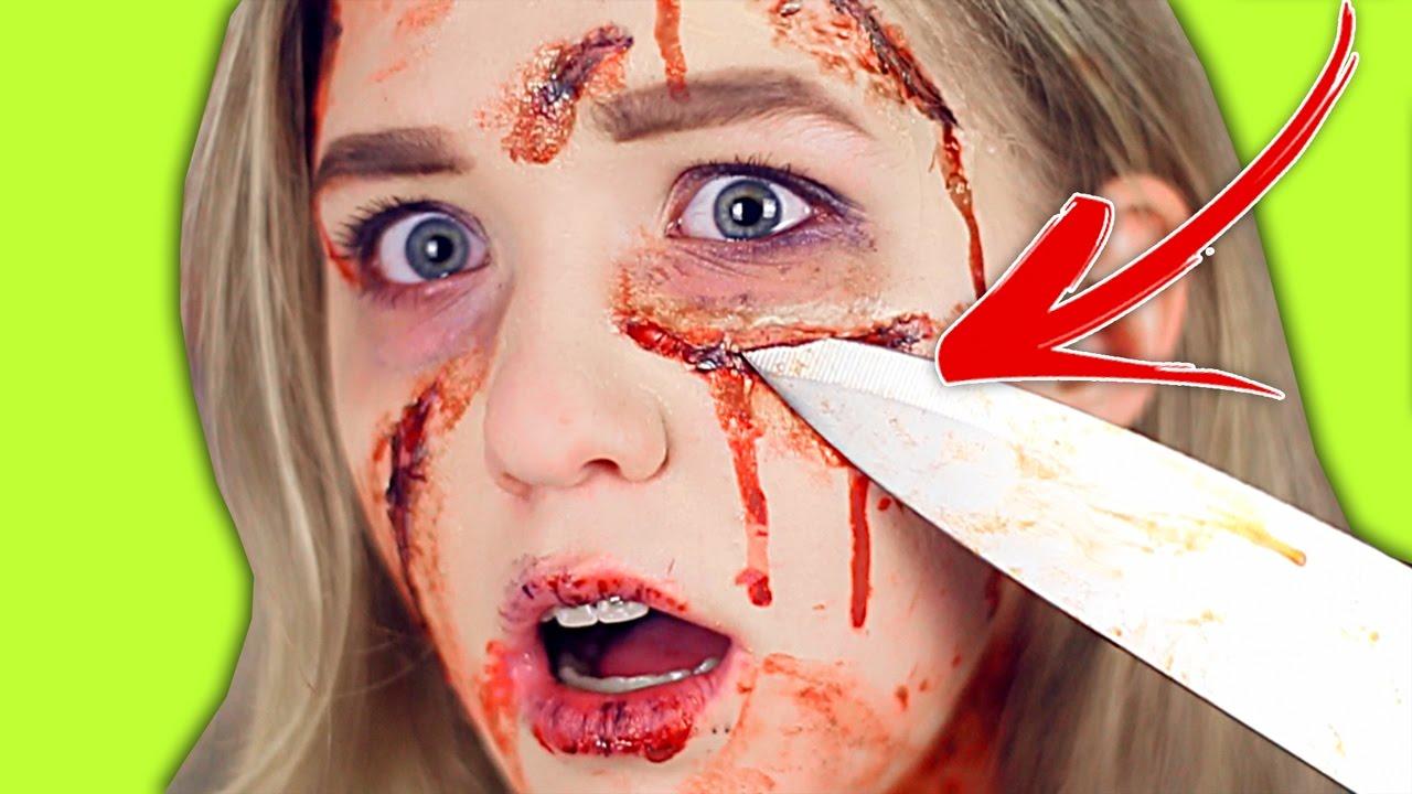 ПОРЕЗАЛА ЛИЦО!!! DIY МАКИЯЖ на ХЭЛЛОУИН - YouTube