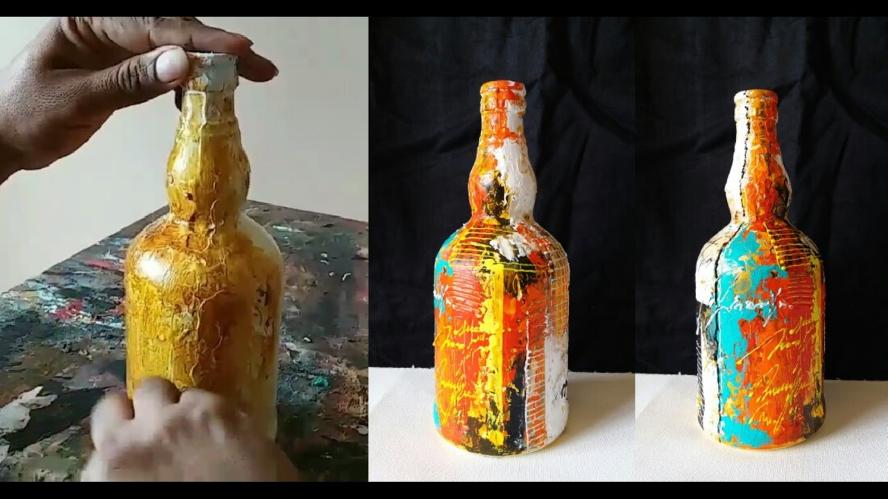 Painting Wine Bottles Acrylic Gesso