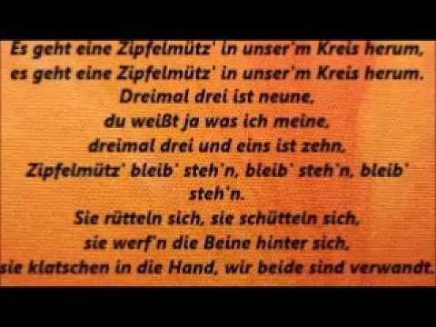 """Singe """"Es Geht Eine Zipfelmütz'"""", Mit Text, Mit Gesang"""