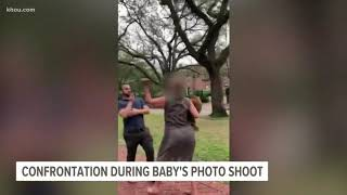 Confrontation over baby's photoshoot caught on camera