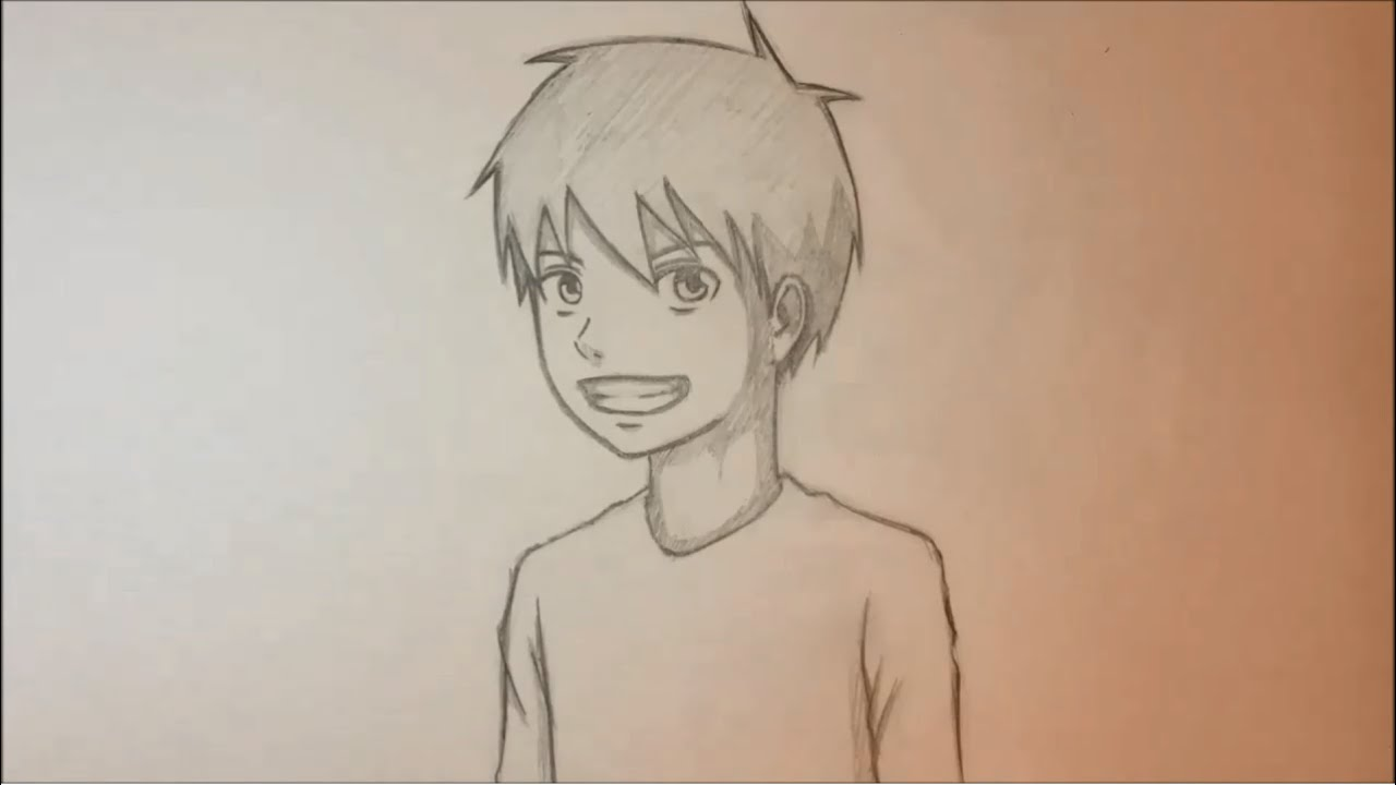 draw anime male face 3 4