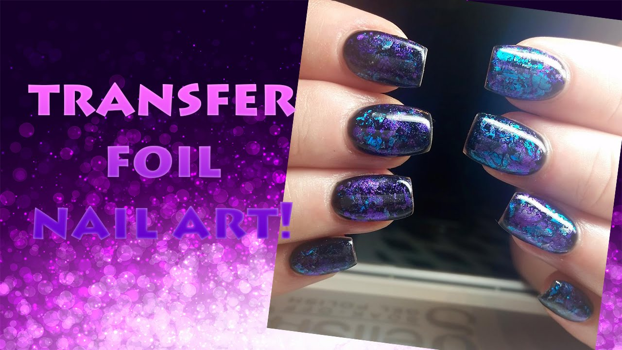 Transfer foil and gelish nail art tutorial youtube prinsesfo Images