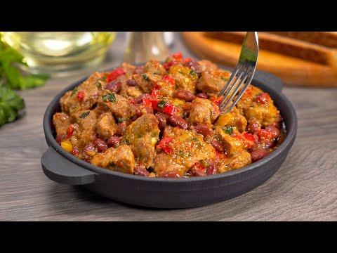 Тушеная свинина с фасолью на сковороде. Все будут сыты и довольны! Рецепт от Всегда Вкусно!