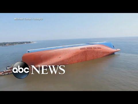Cargo ship capsizes,