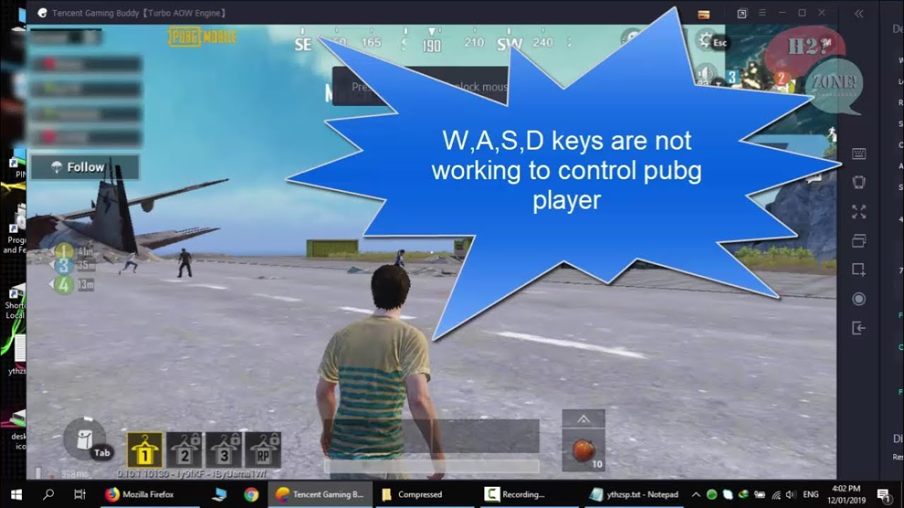 how fix wasd key mapping controls not working for pubg