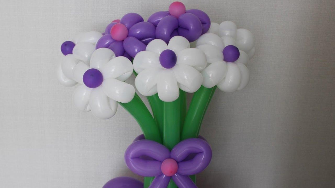 Цветы из шаров Букет на подставке с бантом из шдм Flowers