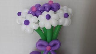 Цветы из шаров Букет на подставке с бантом из шдм Flowers of balloons