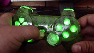 WEED PS3 CONTROLLER MARIJUANA DESIGN RAPID FIRE LED LIGHTS