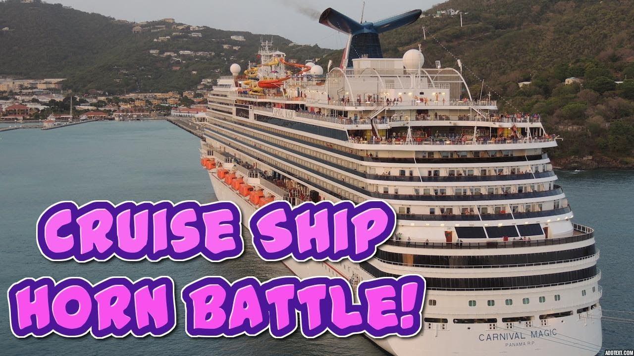 Carnival Cruise Ship Horn Battle! - YouTube