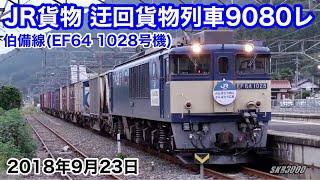 【JR貨物 迂回貨物列車9080レ 伯備線(EF64 1028号機) 2018.9.23】