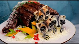 3Д торт без мастики Оформляем торт кремом Зимний торт БРЕВНО и ЕНОТЫ