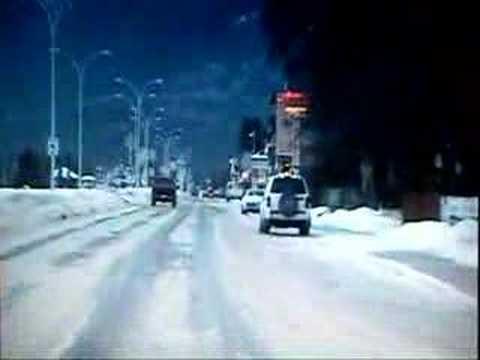 Drive through Jasper, Alberta town centre.