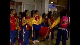 Llegada del Sudamericano de la Vinotinto sub 17 femenina (Kerch)