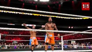 WWE 2K15   USO CRAZY! DOUBLE NEW OMG MOMENT! WWE 2K15 New Moves DLC Pack