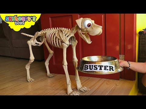 SKELETON DOG in our house!? skyheart and daddy fights buster the dog attacks kids chase