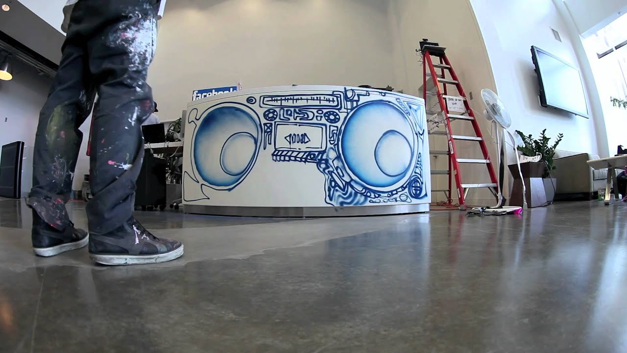 David Choe Turns The Front Desk Of New Facebook Head Quarters Into A