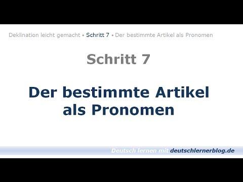 Deutsch Lernen Learn German Bestimmter Artikel Als Pronomen