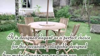 Teak Outdoor  Furniture   Round Radiant Dining Set Of Segoromas