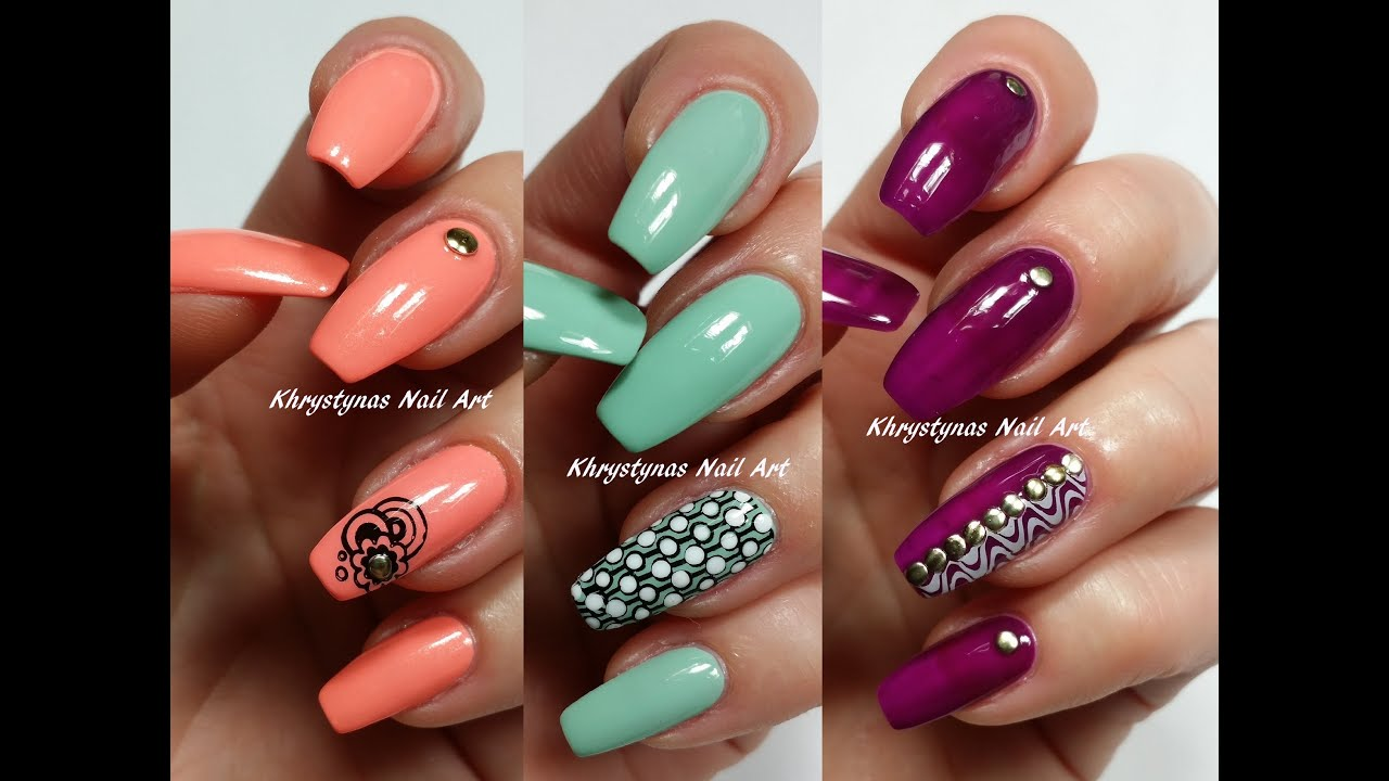 3 Easy Accent Nail Ideas! Stamping (Khrystynas Nail Art) - YouTube