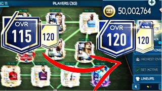 FIFA MOBILE TEAM UPGRADE | 115 OVR - 120 OVR | 50 MILLION COINS | FIFA MOBILE 19