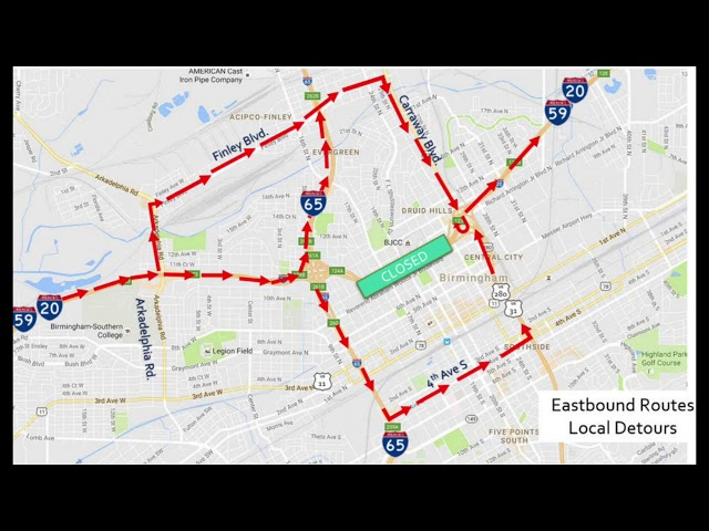 I-59/20 in downtown Birmingham now closed for 14 months - al.com on interstate 526 map, new jersey route 1 map, interstate 80 map, interstate 44 map, interstate 27 map, interstate 75 map, interstate highway map, interstate 70 map, interstate 25 map, interstate 85 map, interstate 26 map, lincoln way map, interstate map of mississippi and alabama, us highway 78 map, interstate 30 map, interstate 422 map, interstate 10 map, interstate 74 map,