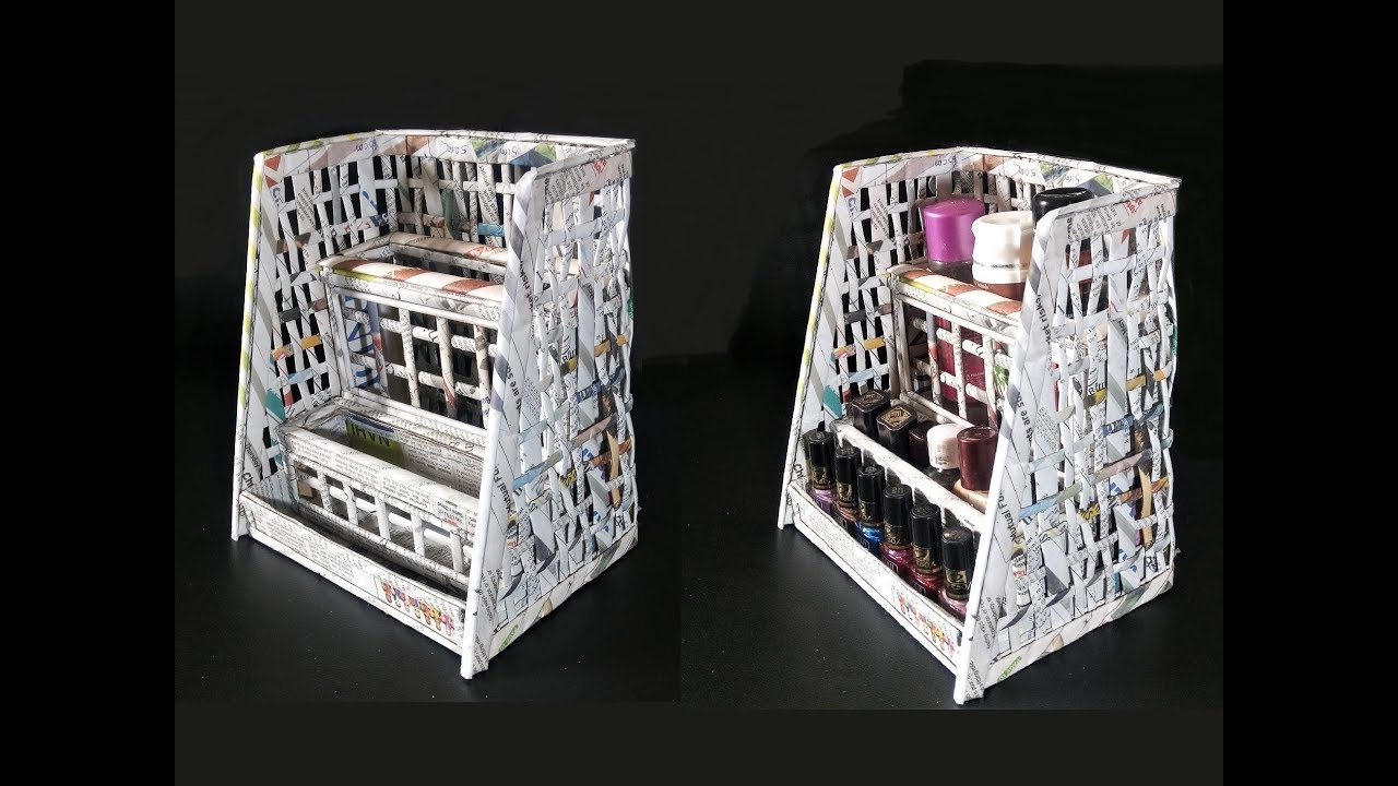 How To Make A Cosmetic Organiser From Newspaper Best Out