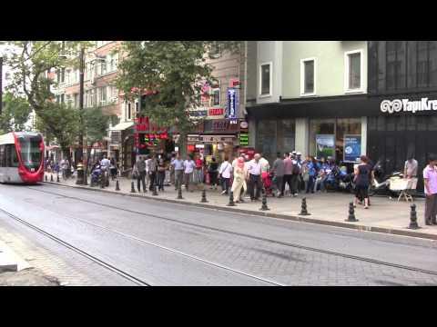 Modern Istanbul Trams, Istanbul, Turkey - 1st August, 2012 (HD)