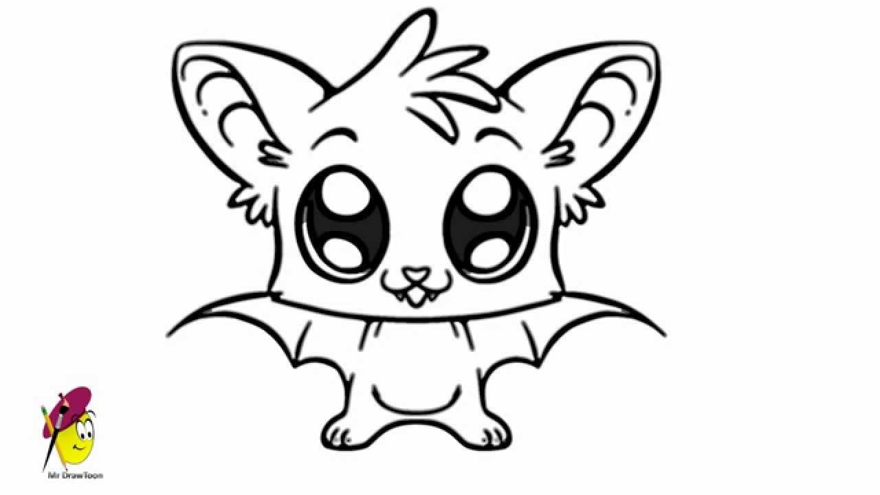bat cartoon easy drawing how to draw a bat youtube