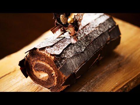 クリスマスケーキ「ブッシュ・ド・ノエル・ショコラ」の作り方 Christmas Chocolate Log Cake