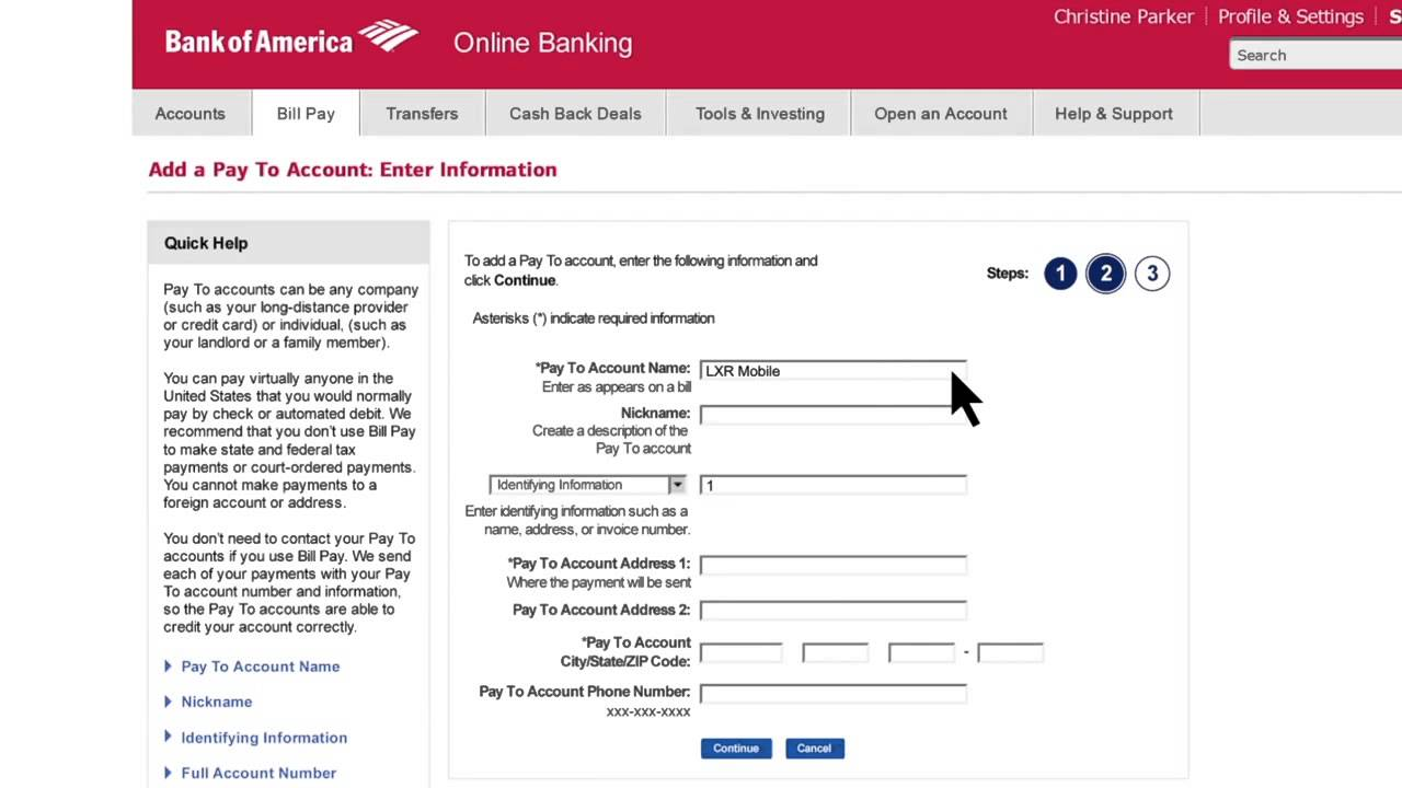 bank of america wiring money online