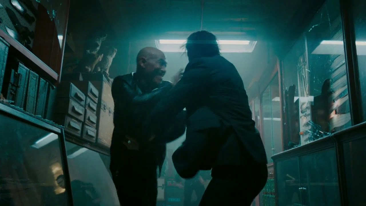 John wick throws an axe fight scene ( John wick: Chapter 3-Parabellum)