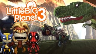 Little Big Planet 3 (PS4) Multiplayer Gameplay: CRAZY T-REX ON THE LOOSE!!!