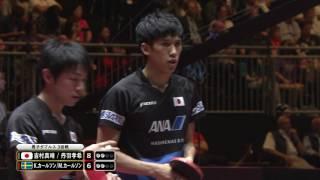 男子ダブルス3回戦 吉村真晴/丹羽孝希 vs K.カールソン/M.カールソン 第5ゲーム