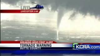 TWISTER SPOTTED FROM HELICOPTER  KCRA  Butte, Ca Rare tornado near Chico, Willows    May 25, 2011