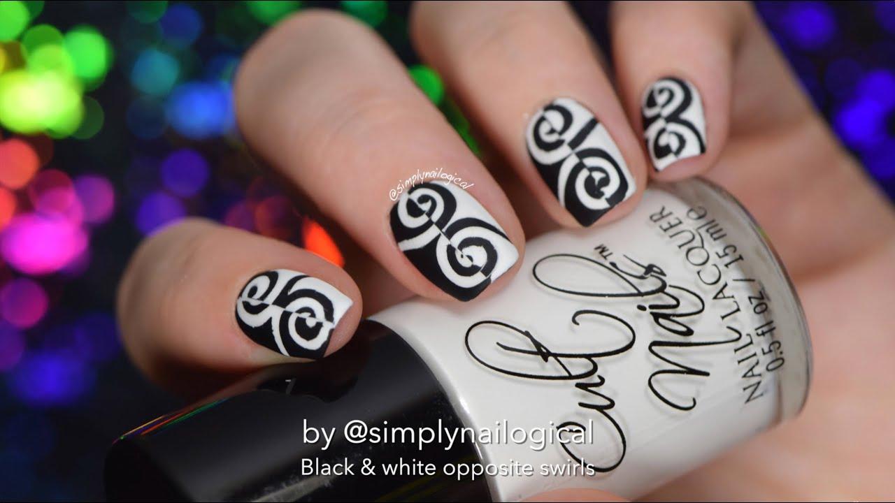 black and white nail vinyls swirls