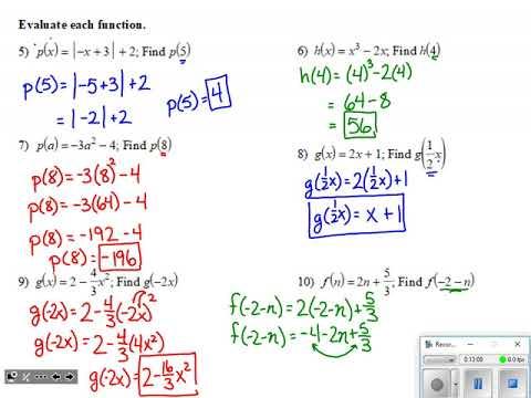 Algebra 2: Algebra 1 Review Quiz Review