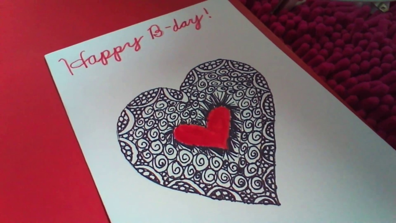 Birthday Card Zentangle Heart - YouTube