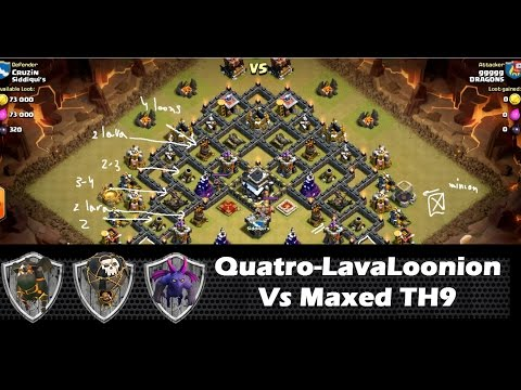 Quatro LavaLoonion vs MAXED defenses TH9 for 3 stars | clan wars | clash of clans