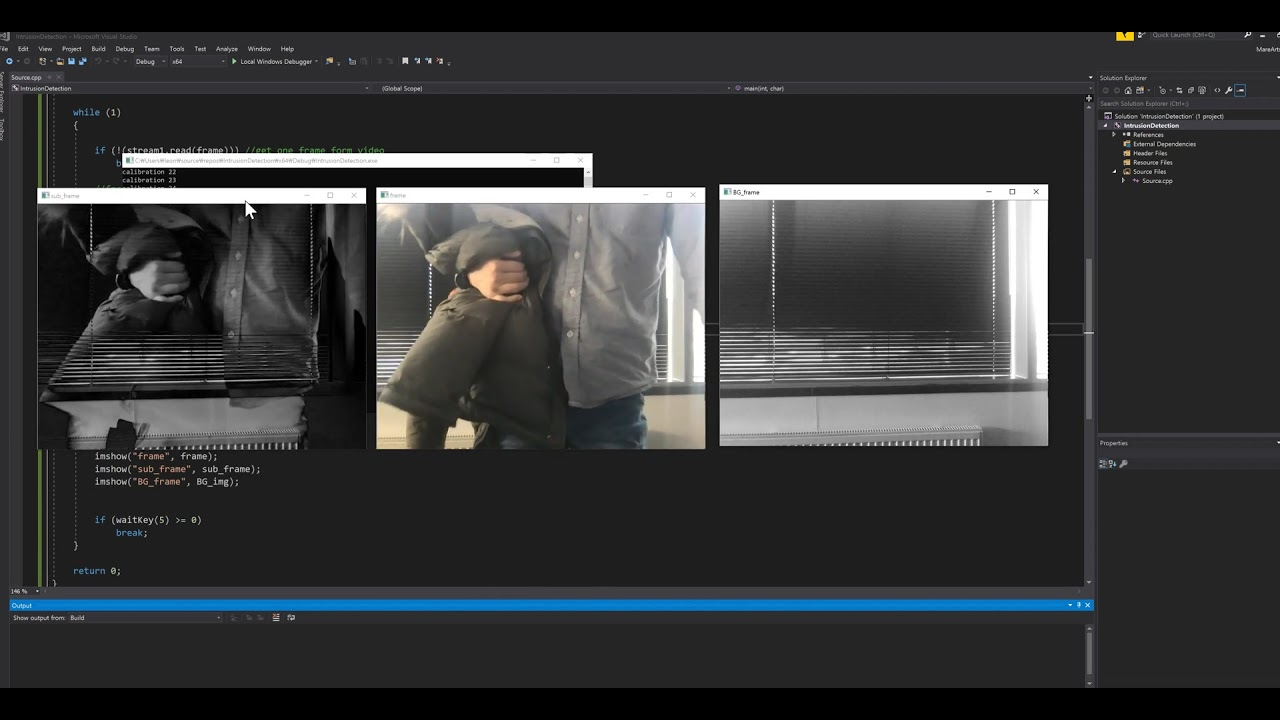 OpenCV Background subtraction sample code by JH Kim
