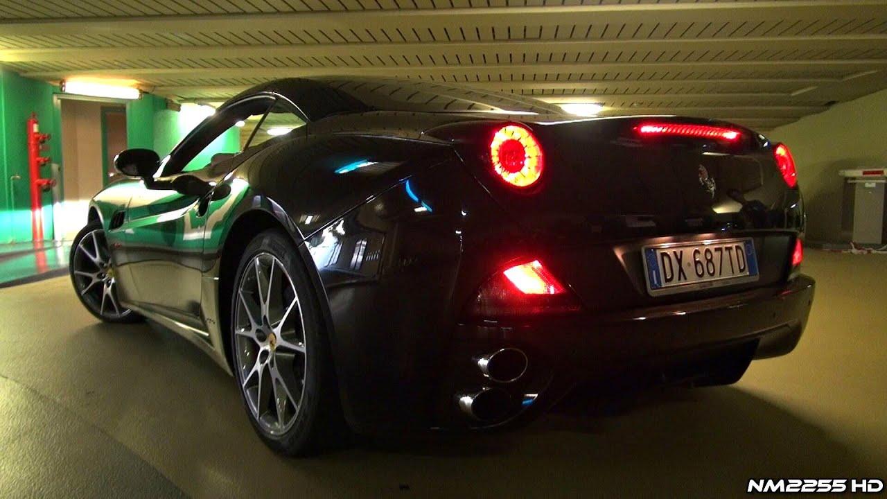 Revving a Ferrari California in Close Parking Garage