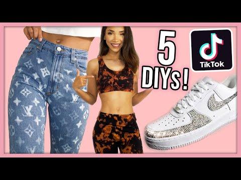 I Tried 5 Viral Tiktok Clothing DIYs! - YouTube