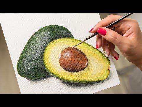 Still life of Avocado - Acrylic painting / Homemade Illustration (4k)