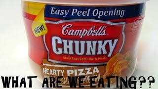 Campbell's Chunky Hearty Pizza SOUP?? - WHAT ARE WE EATING??? - The Wolfe Pit