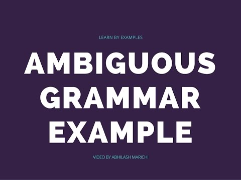 Ambiguous Grammar Simple Example