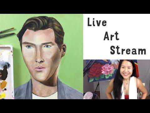 LIVE ART STREAM - Open Studio Hours - Portrait Painting Benedict Cumberbatch in Acrylics on Canvas